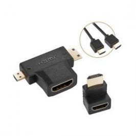 GoGEN HDMI 1.4, 1,5m, pozlacený + L adaptér + adaptér HDMI micro / HDMI mini (GOGHDMIKIT01) černý