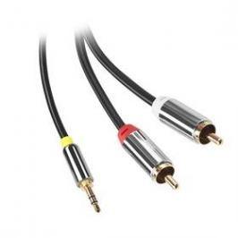 GoGEN Jack 3,5mm / 2x Cinch, 1,5m, pozlacené konektory (GOGCINJACK150FM01) černý
