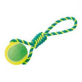 Nobby Rope Toy XXL tenisák 10cm s lanem modré/žluté/zelené