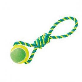 Nobby Rope Toy XXL tenisák 12cm s lanem modré/žluté/zelené