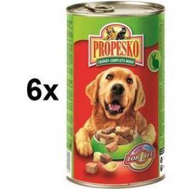 Propesko kousky pes králík + hovězí + těstoviny 6 x 1240g
