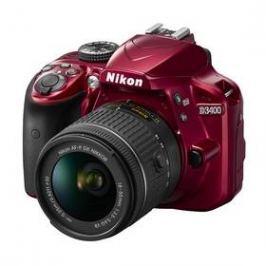 Nikon D3400 + AF-P 18-55 VR + 4x čištění čipu zdarma (VBA491K001) červený