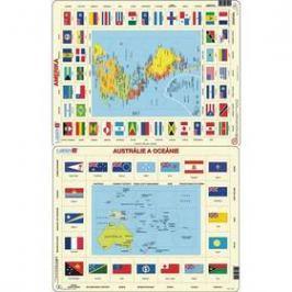 Larsen Mapa Ameriky, Austrálie a Oceánie + vlajky 2ks