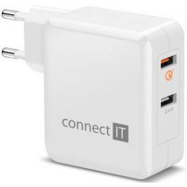 Connect IT 2x USB (3,4A), s funkcí rychlonabíjení QC 3.0 (CWC-3010-WH) bílá