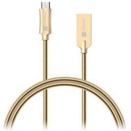 Connect IT Wirez Steel Knight MicroUSB, 1m, ocelový, opletený (CCA-3010-GD) zlatý