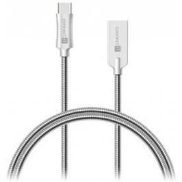 Connect IT Wirez Steel Knight USB-C, 1m, ocelový, opletený (CCA-5010-SL) stříbrný