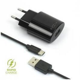 FIXED 1x USB, 2,4A + USB-C kabel (FIXC-UC-BK) černá