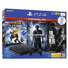 Sony PlayStation 4 SLIM 1TB + The Last Of Us +Uncharted 4 + Ratchet & Clank (PS719719519) černý