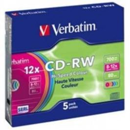 Verbatim CD-RW DL 700MB/80min. 8x-12x, colors, slim box, 5ks (43167)