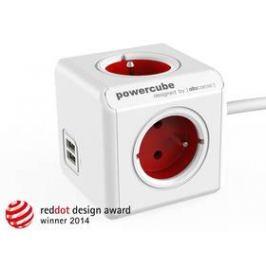 Powercube Extended USB, 4x zásuvka, 2x USB, 1,5m červená