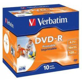 Verbatim DVD-R 4.7GB, 16x, printable, jewel box, 10ks (43521) Záznamová média