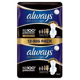 Always Ultra Secure Night hygienické vložky s křidélky 12 ks