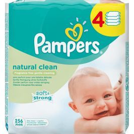 Pampers Natural Clean čisticí ubrousky 4 x 64 ks