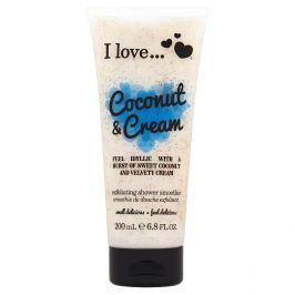 I Love Coconut & Cream přírodní sprchový peeling s vůní kokosu a sametového krému 200 ml Tělový peeling