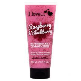 I Love Raspberry & Blackberry přírodní sprchový peeling s vůní malin a ostružin 200 ml Tělový peeling