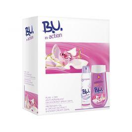 B.U. In Action Pure & Dry dárková sada antiperspirant a sprchový gel 150 ml + 250 ml