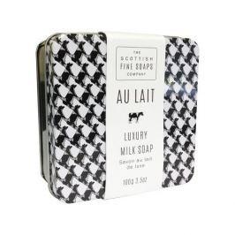 Scottish Fine Soaps Tuhé mýdlo v plechové krabičce Au Lait 100 g Do sprchy a koupele