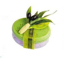 Le Chatelard Dárková sada luxusních francouzských mýdel Olivové listy a levandulové květy 2 x 100 g