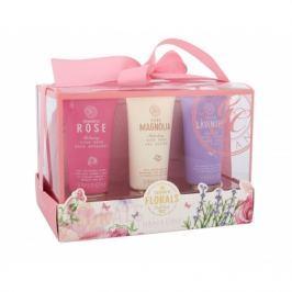 Grace Cole Summer Florals dárková kazeta pro ženy pěna do koupele Romantic Rose 50 ml + sprchový gel Pure Magnolia 50 ml + tělový krém Fresh Lavender 50 ml + kosmetická taška