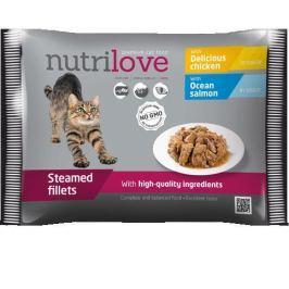 NUTRILOVE cat kaps. 4x85g - LOSOS/KUŘECÍ