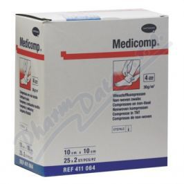 KOMPRESY MEDICOMP STERILNÍ 10X10CM,NETKANÝ TEXTIL,25X2KS Náplasti a obvazy